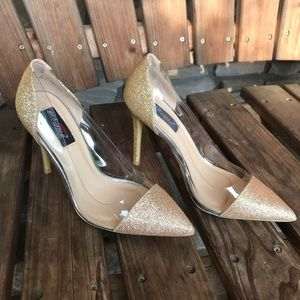 Yes Mile for Lady gold & clear heels